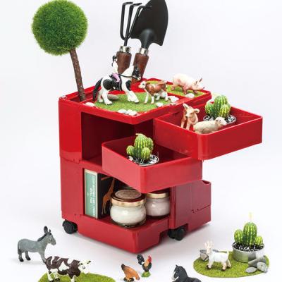 reina Boby Trolley 授權經典復刻 創意桌上收納車 (紅)