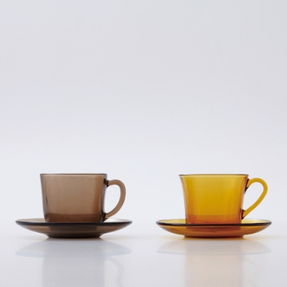 Duralex 經典復古色 咖啡杯盤組 (琥珀色)
