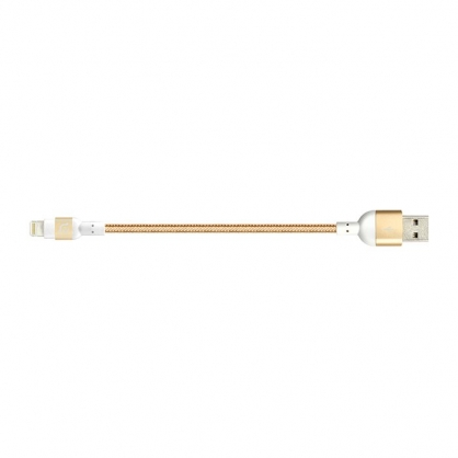 PeAk Lightning 20cm 金屬編織充電傳輸線 正反插 (香檳金)
