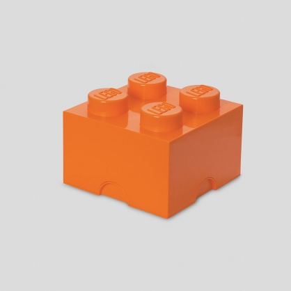 LEGO® 放大版樂高收納箱4凸 (元氣橘)