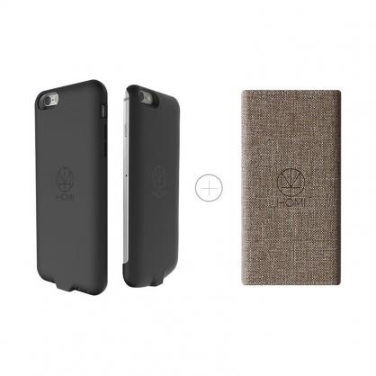 HOMI 無線充電優惠組(棕色亞麻布面無線充電板+iPhone6/6s 無