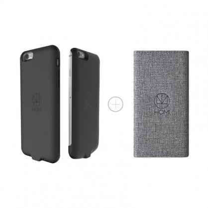 HOMI 無線充電優惠組(灰色亞麻布面無線充電板+iPhone6/6s 無