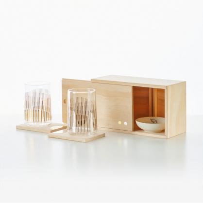 TZULAi 厝內 金銀條紋對杯(木盒組)
