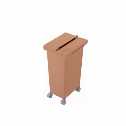 ECO 三段式掀蓋 質感垃圾桶 21L (磚紅)