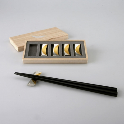 NOUSAKU 能作 100%純錫 金箔新月筷架