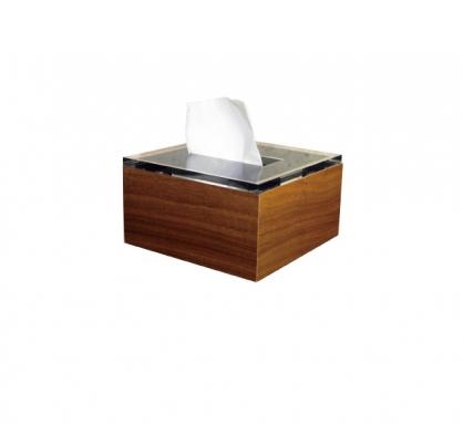 Liam 原木面紙盒 方形 胡桃木色