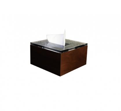 Liam 原木面紙盒 方形 深胡桃木色