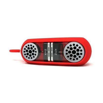 美國 Knz GoDuo 無線磁吸音響/透明主體/紅色矽膠套