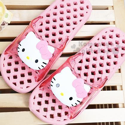 〔小禮堂〕Hello Kitty 成人浴室拖鞋《26cm.粉.2D大臉》素描系列