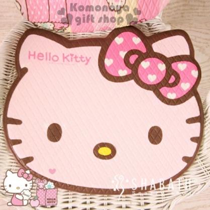 〔小禮堂〕Hello Kitty 造型坐墊《小.軟式.粉.大臉型.愛心蝴蝶結》居家.汽車內使用