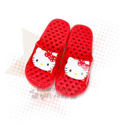 〔小禮堂〕Hello Kitty 浴室拖鞋《大.紅.透明.2D.大臉》格子鏤空設計