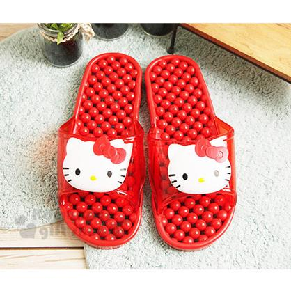 〔小禮堂〕Hello Kitty 成人浴室拖鞋《紅.大臉》透氣又快乾