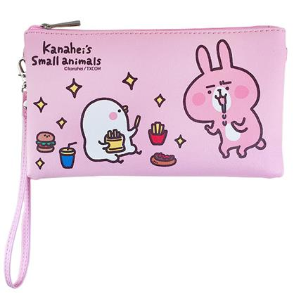 〔小禮堂〕卡娜赫拉的小動物  皮質手機包《粉.流口水.薯條》附腕繩