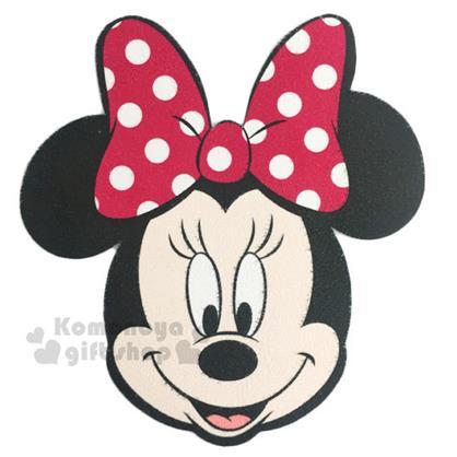 〔小禮堂〕迪士尼 米妮 多功能造型止滑墊《黑粉.大臉》手機擦拭.滑鼠墊兼用