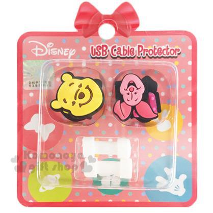 〔小禮堂〕迪士尼 造型傳輸線保護套《黃粉.維尼.小豬.大臉》保護充電線不受損