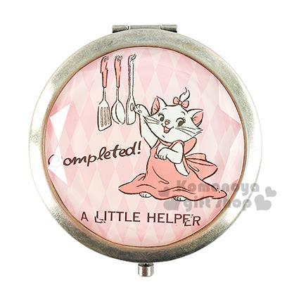 〔小禮堂〕迪士尼 瑪麗貓 復古圓型隨身鏡《粉.菱格紋.廚具》放大雙面鏡