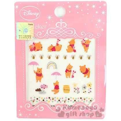 〔小禮堂〕迪士尼 小熊維尼 造型指甲貼《小豬.蜜蜂.多動作.粉包裝》