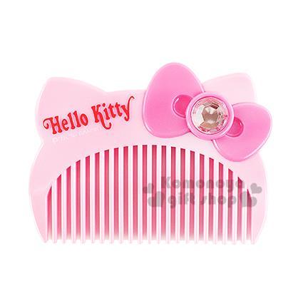 〔小禮堂〕Hello Kitty 造型平扁梳子《粉.大臉.盒裝》