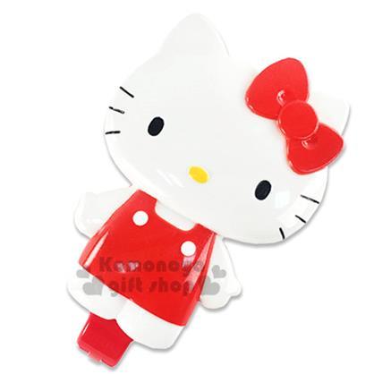 〔小禮堂〕Hello Kitty 造型按摩氣墊折疊梳《紅.站姿.盒裝》附鏡子