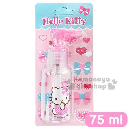 〔小禮堂〕Hello Kitty 按壓式空瓶《透明.粉.側坐.愛心蝴蝶結.點點裙.75ml》可自由補裝內容物