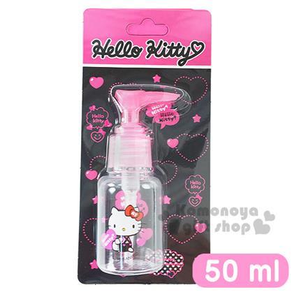 〔小禮堂〕Hello Kitty 按壓式空瓶《透明.粉.坐姿.拿愛心.吊帶褲.50ml》可自由補裝內容物