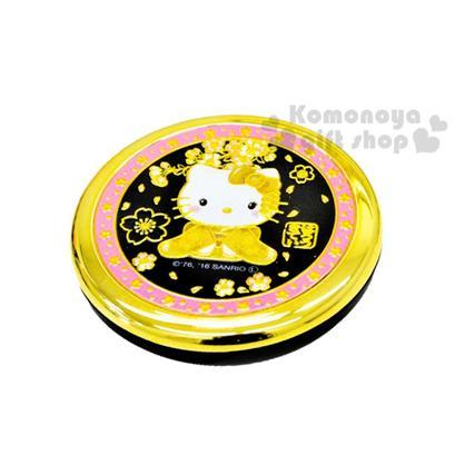 〔小禮堂〕Hello Kitty 日製圓形折疊鏡《金粉黑.坐姿.和服.櫻花》濃濃日系和風