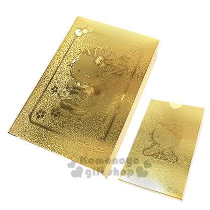 〔小禮堂〕Hello Kitty 黃金撲克牌《金.櫻花.和服.盒裝》