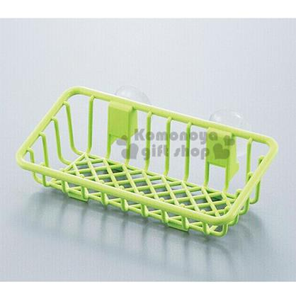 〔小禮堂〕日製菜瓜布收納架《綠.D-5303》附吸盤