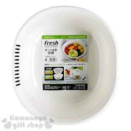 〔小禮堂〕Sanada 日製洗菜籃《白.橢圓》5.3L