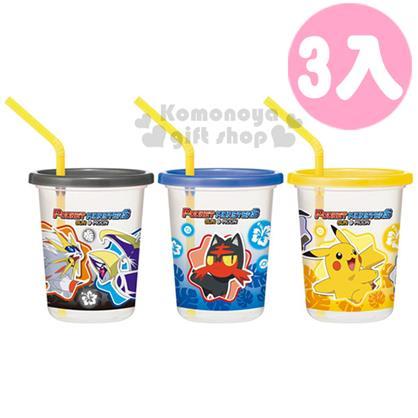 〔小禮堂〕神奇寶貝Pok?mon 皮卡丘 日製塑膠杯《3入.透明.黃藍黑蓋.扶桑花.葉子.320ml》附蓋.吸管