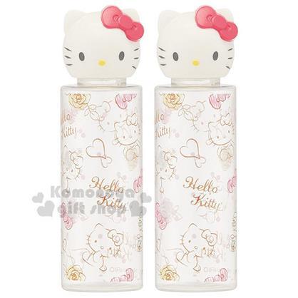〔小禮堂〕Hello Kitty 造型空瓶《2入.透明.大臉.滿版.蝴蝶結.玫瑰.30ml》可自由補充內容物