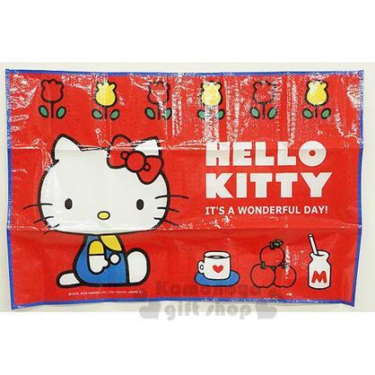 〔小禮堂〕Hello Kitty 野餐墊《S.紅.側坐.鬱金香.90x60cm》單人用尺寸設計