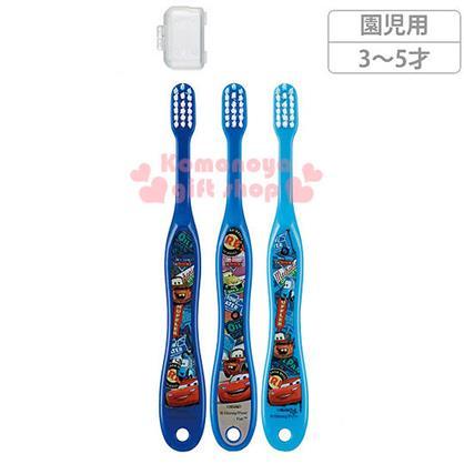 〔小禮堂〕閃電麥坤 學童牙刷組《3入.藍.朋友.適3-5歲.附牙刷蓋》易握形狀設計