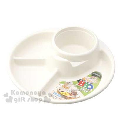 〔小禮堂〕inomata 野餐盤《白.4格.圓形》野餐出外的好夥伴
