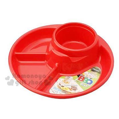〔小禮堂〕inomata 野餐盤《紅.4格.圓形》野餐出外的好夥伴