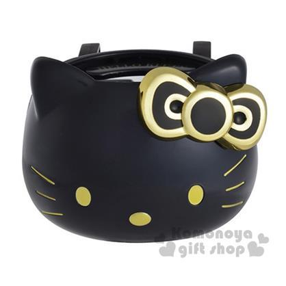 〔小禮堂〕Hello Kitty 汽車用飲料架《黑金.大臉》方便又可愛