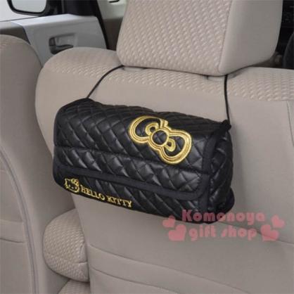 〔小禮堂〕Hello Kitty 皮質吊掛面紙套《黑.金蝴蝶結.LOGO》室內汽車兼用