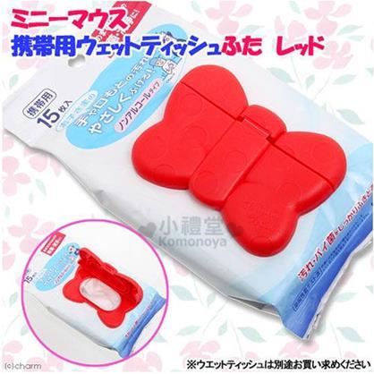 〔小禮堂〕迪士尼 米妮 日製濕紙巾蓋子《紅.點點.蝴蝶結造型》可重複使用