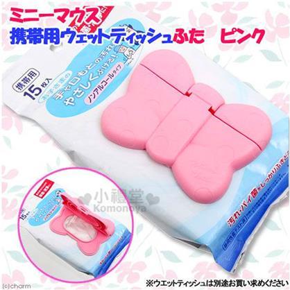 〔小禮堂〕迪士尼 米妮 日製濕紙巾蓋子《粉.點點.蝴蝶結造型》可重複使用