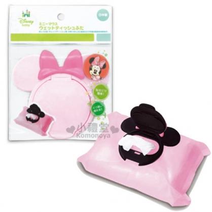 〔小禮堂〕Minnie 米妮 日製濕紙巾蓋子《粉.造型頭型.深粉蝴蝶結》