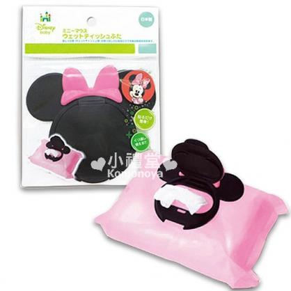 〔小禮堂〕Minnie 米妮 日製濕紙巾蓋子《黑.造型頭型.粉蝴蝶結》
