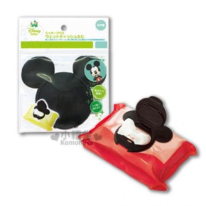 〔小禮堂〕Mickey 米奇 日製濕紙巾蓋子《黑.造型頭型》