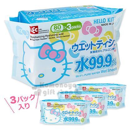 〔小禮堂〕Hello Kitty 日製濕紙巾《3包入.藍.蝴蝶結.大臉》內附80抽玻尿酸濕紙巾