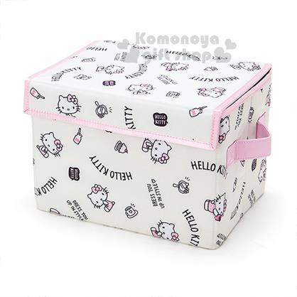 〔小禮堂〕Hello Kitty 折疊收納箱《S.白.蛋糕.牛奶.多動作》