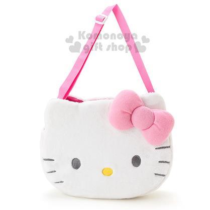 〔小禮堂〕Hello Kitty 絨毛造型汽車多用途置物袋《白.大臉》粉嫩汽配系列
