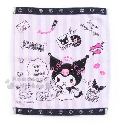 〔小禮堂〕酷洛米 純棉方形毛巾《紫條紋.愛心.口紅.信封.一箭穿心.34x36cm》我的秘密基地