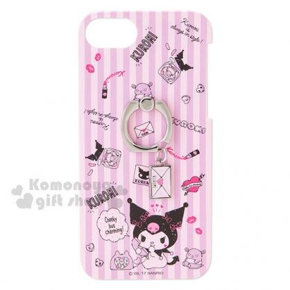 〔小禮堂〕酷洛米 iPhone7手機殼《紫條紋.愛心.信封.口紅.附指環扣》我的秘密基地