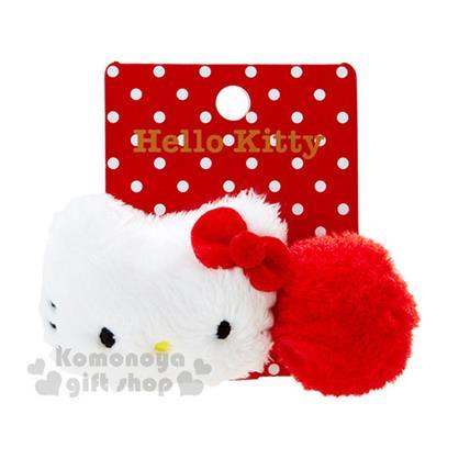 〔小禮堂〕Hello Kitty 造型絨毛彈力髮束《紅白.大臉.毛球》