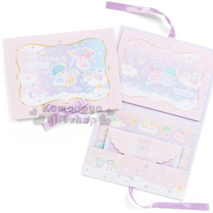 〔小禮堂〕雙子星 日製信紙組《粉紫.5個信封.2款信紙.附貼紙.紫色緞帶蝴蝶結》星中的潘朵拉