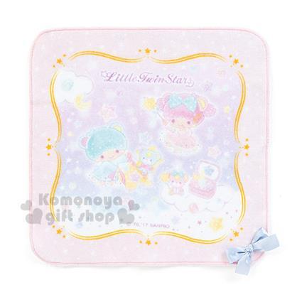 〔小禮堂〕雙子星 日製紗布手帕《粉.蝴蝶結.雙熊.金框》星中的潘朵拉